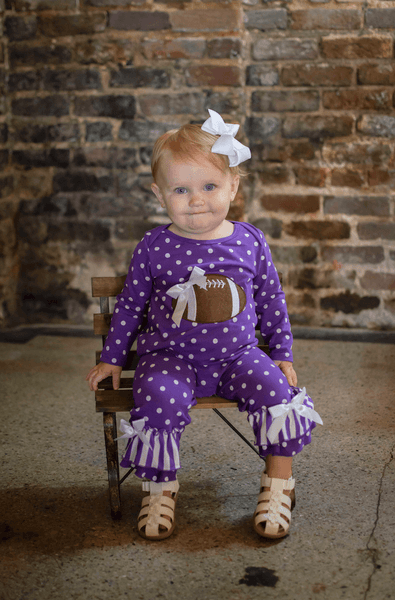 Purple and White Tailgate Romper - Orange Poppy Boutique