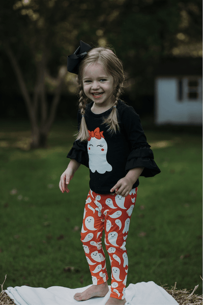Ghastly Cute Ghost Pant Set - Orange Poppy Boutique