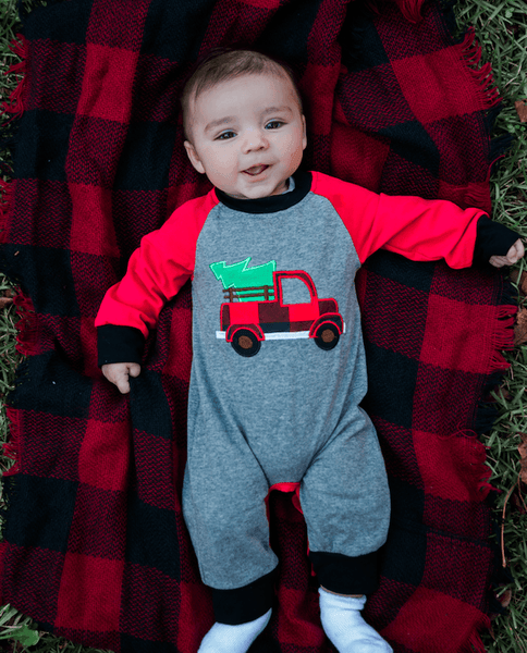 baby boy boutique christmas outfit with buffalo plaid | Orange Poppy Boutique