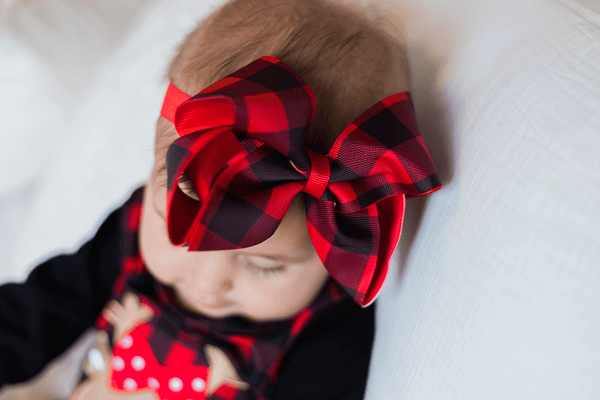 "Red & Black Buffalo Check 6"" Headband Hairbow - Orange Poppy Boutique"