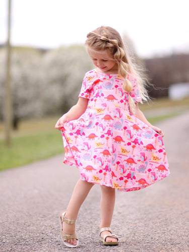 Girls pink dinosaur dino twirl dress