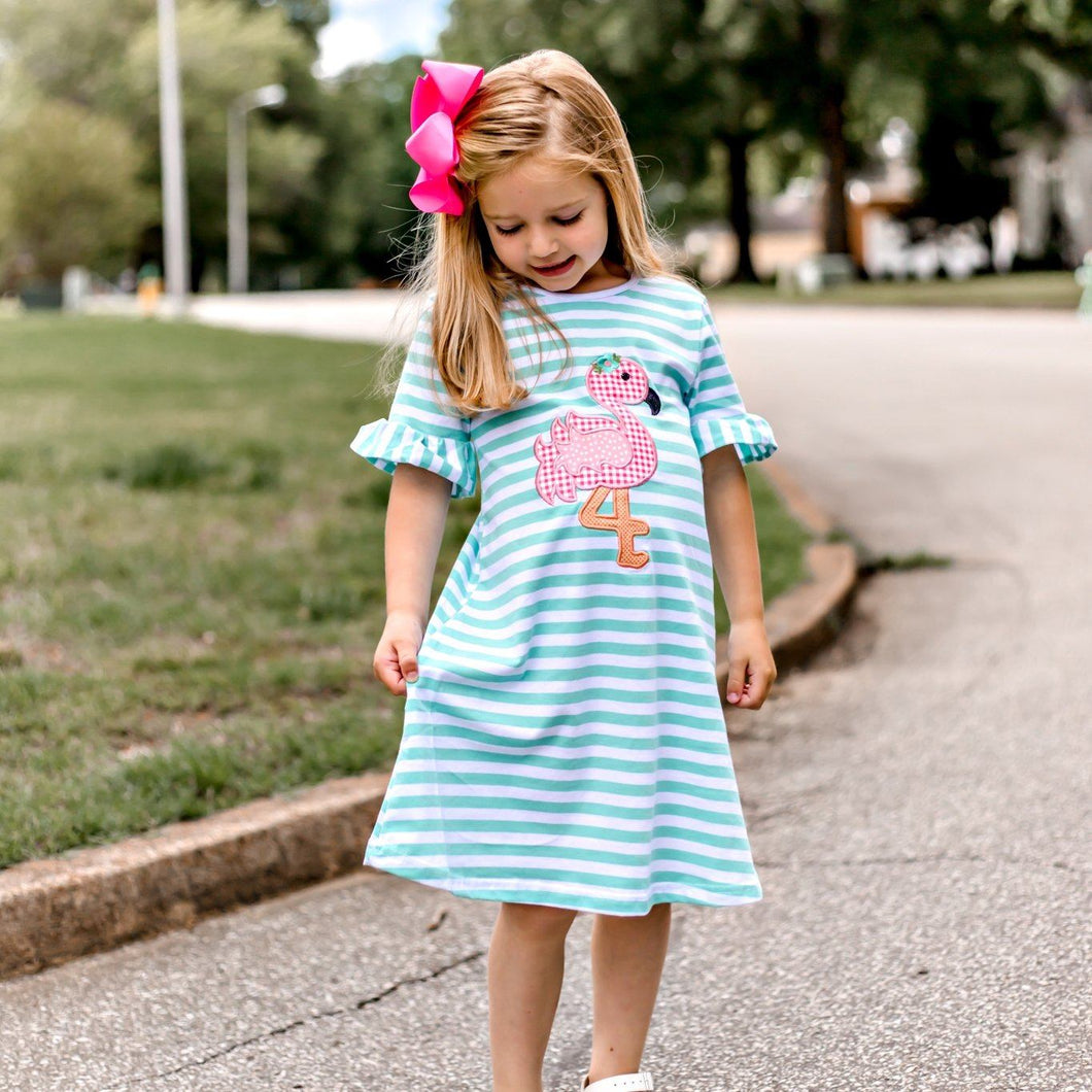 girls boutique pink flamingo dress by orange poppy