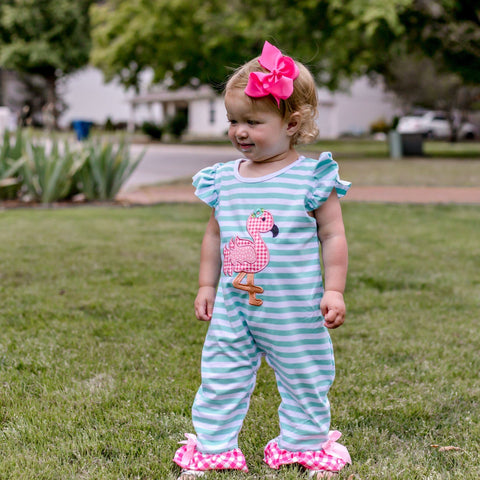 girls boutique pink flamingo ruffle romper | Orange Poppy Children's Boutique