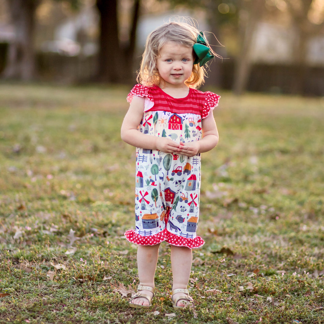 baby girl farm romper | children's boutique knoxville tn