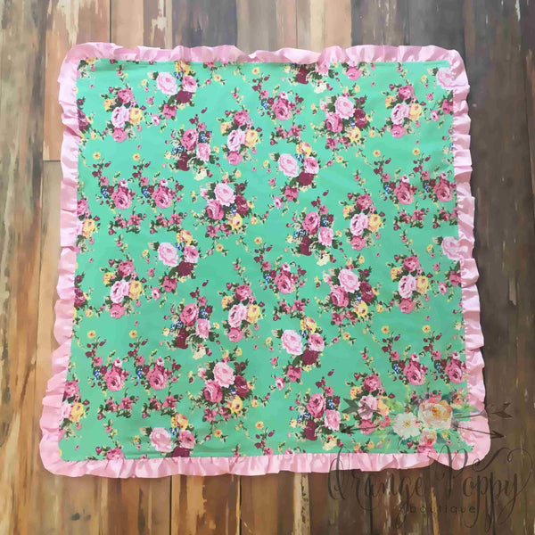 Brynlee Rose Floral Baby Blanket - Orange Poppy Boutique