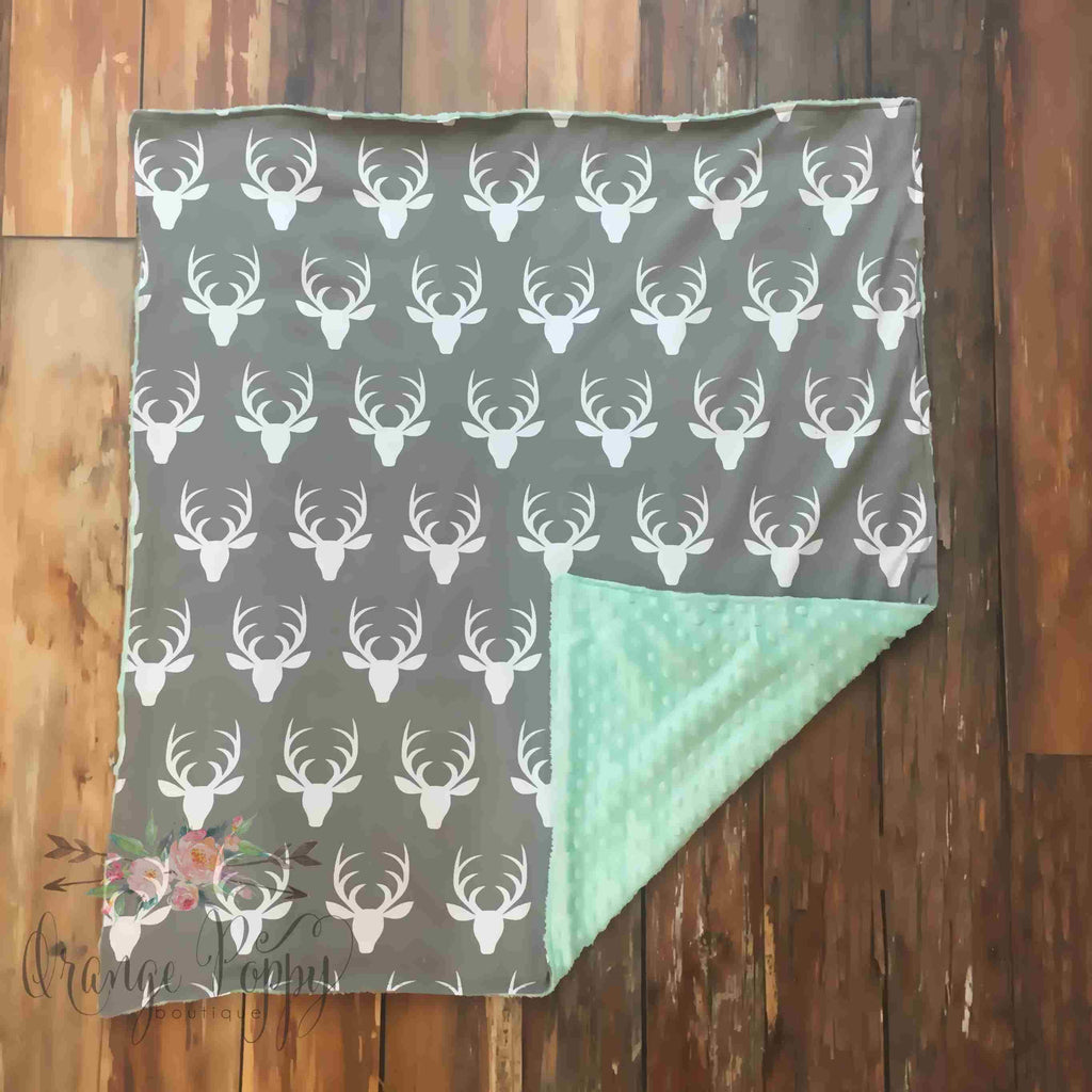 Mint Deer Baby Blanket - Orange Poppy Boutique