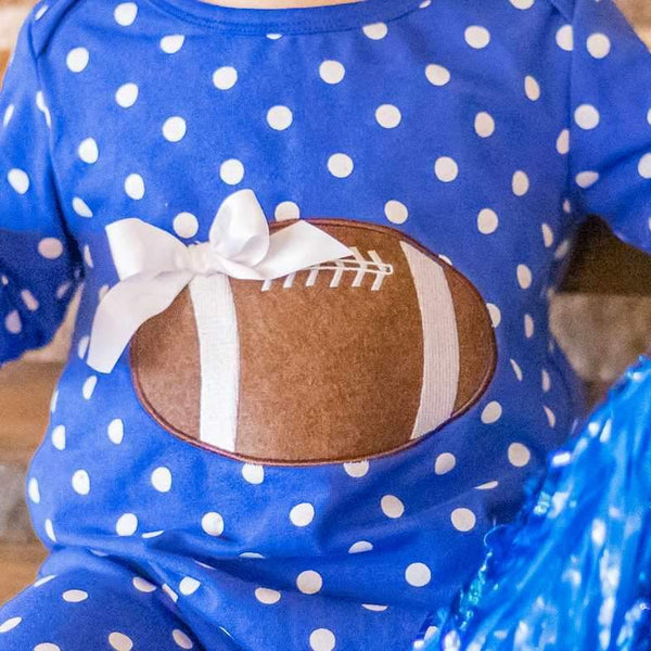 Blue and White Tailgate Romper - Orange Poppy Boutique
