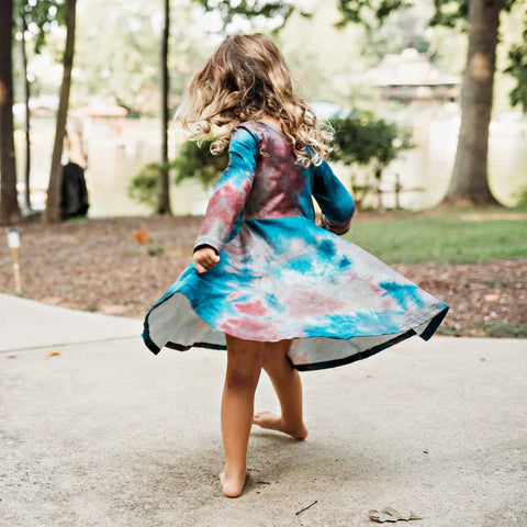 Tie Dye Twirl Dress - Teal & Burgundy