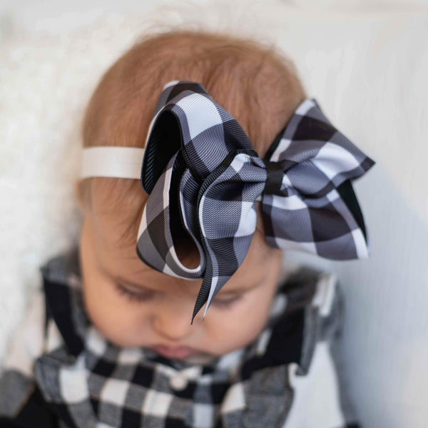 "White & Black Buffalo Check 6"" Headband Hairbow - Orange Poppy Boutique"