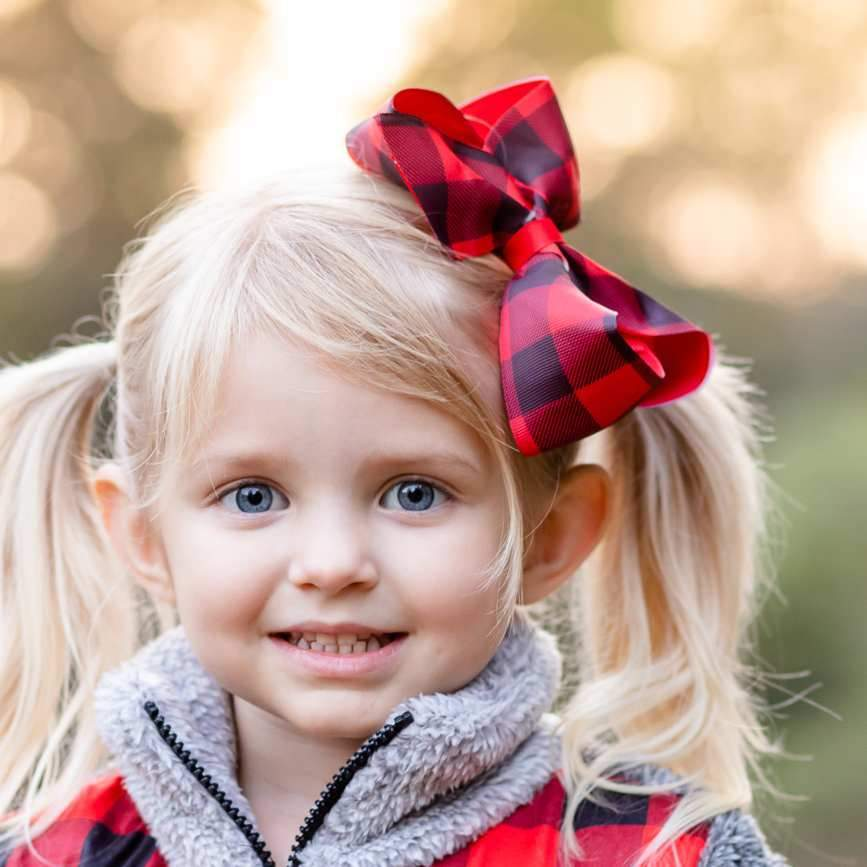 "Red & Black Buffalo Check 6"" Hairbow - Orange Poppy Boutique"