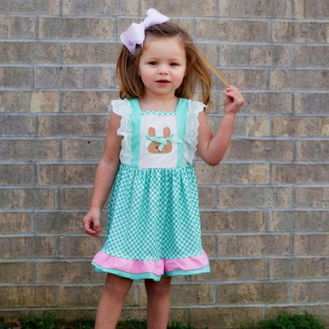 girls teal bunny easter dress