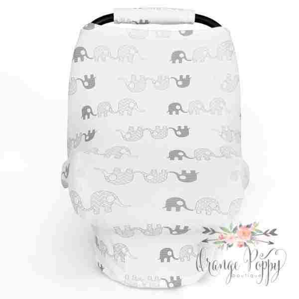 3-in-1 Stretchy Carseat Cover - Grey Elephants - Orange Poppy Boutique