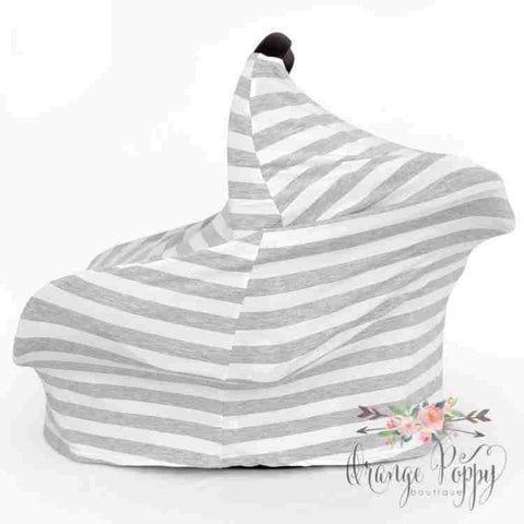 3-in-1 Stretchy Carseat Cover - Grey Stripe - Orange Poppy Boutique