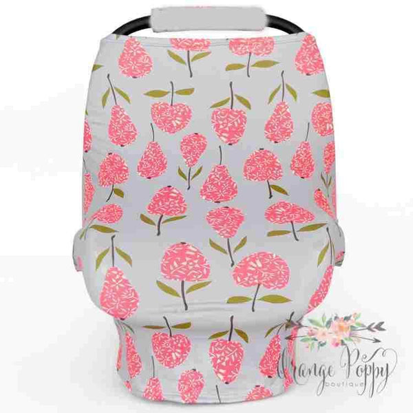 3-in-1 Stretchy Carseat Cover - Pink Hydrangeas - Orange Poppy Boutique