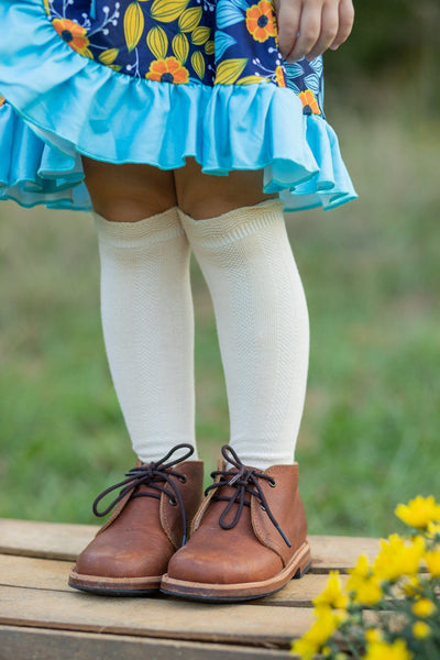 Cable Knee High Socks - Cream - Orange Poppy Boutique