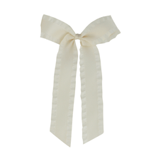 Load image into Gallery viewer, Satin Ruffle Longtail Bow - Cream