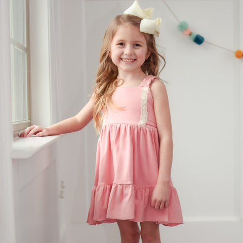 girls pink coral solid easter dress