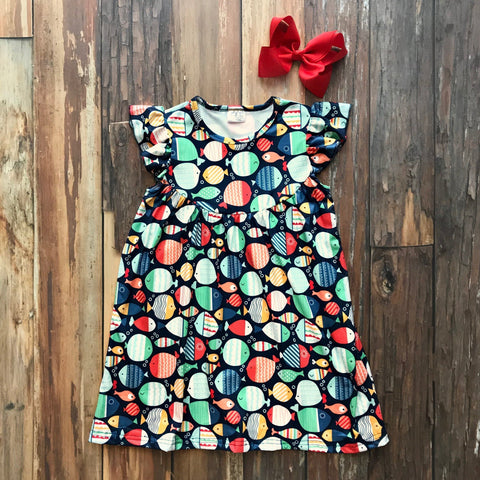Here Fishy Fishy Dress - Orange Poppy Boutique
