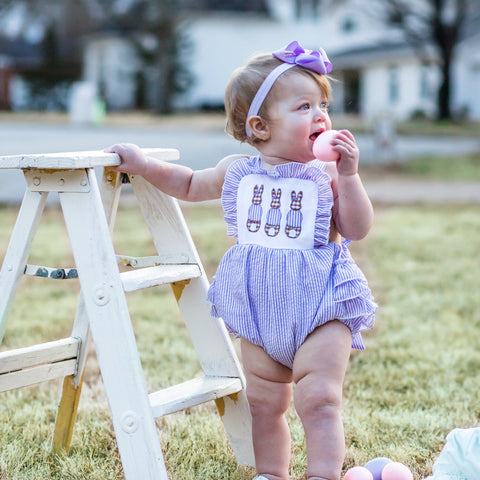 baby girl purple lilac seersucker easter bunny romper