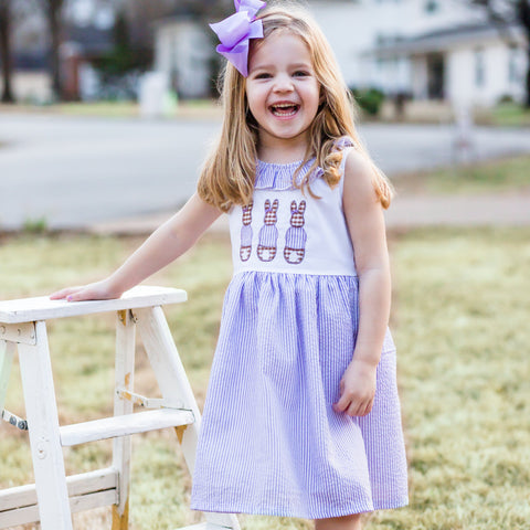 girls purple lilac seersucker easter dress