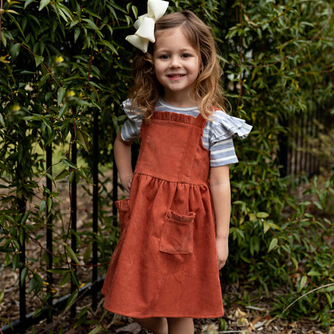 Evie Corduroy Jumper Set - Orange Poppy Boutique