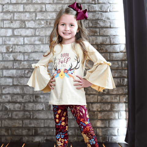 Happy Fall Y'all Pant Set - Orange Poppy Boutique