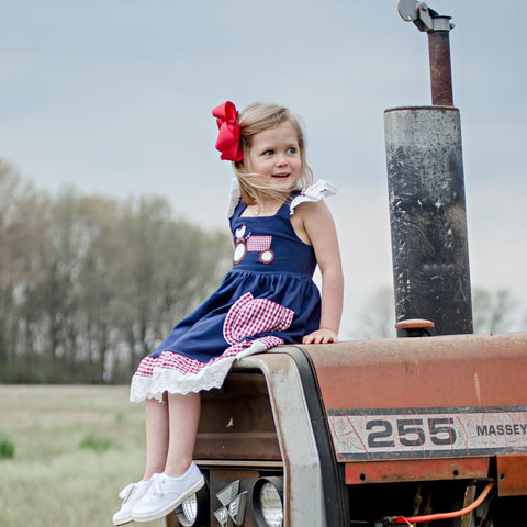 blue tractor and chicken girls boutique farm dress