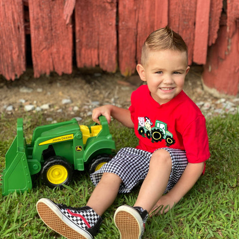 boys farm and tractor short set