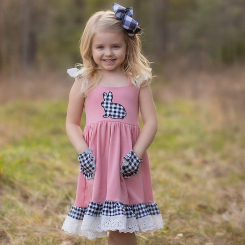 buffalo check bunny girls easter dress