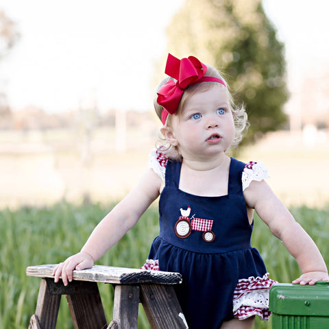 baby girl farm tractor bubble boutique romper