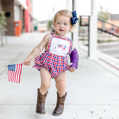 baby girls 4th of july bubble romper | Orange Poppy Childrens Boutique