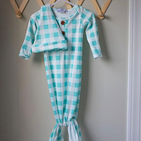 Little Lullaby Gown and Hat - Aqua