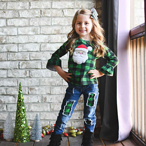 green buffalo plaid santa girls christmas outfit