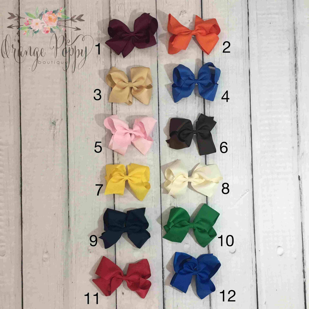 "6"" Barrette Clip Hairbows - Orange Poppy Boutique"