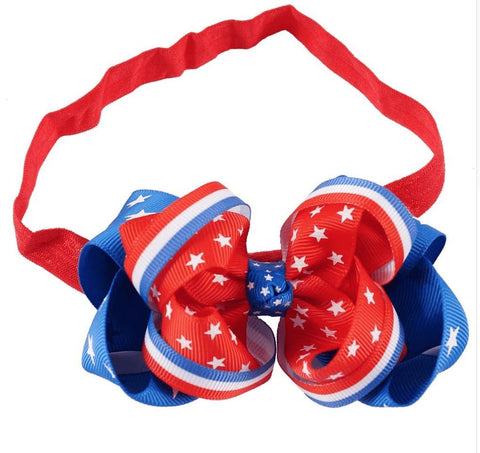 Deluxe Patriotic Headband Hairbow - Orange Poppy Boutique
