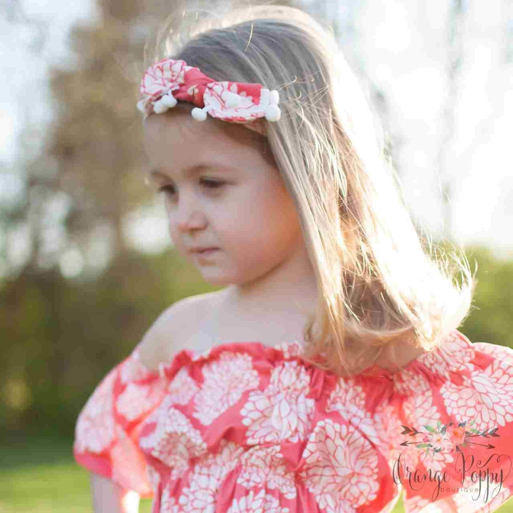 Coral Floral Headband - Orange Poppy Boutique
