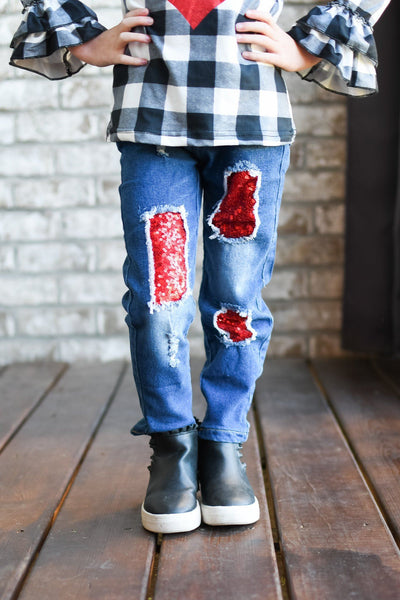 Hugs & Kisses Distressed Jean Set - Orange Poppy Boutique
