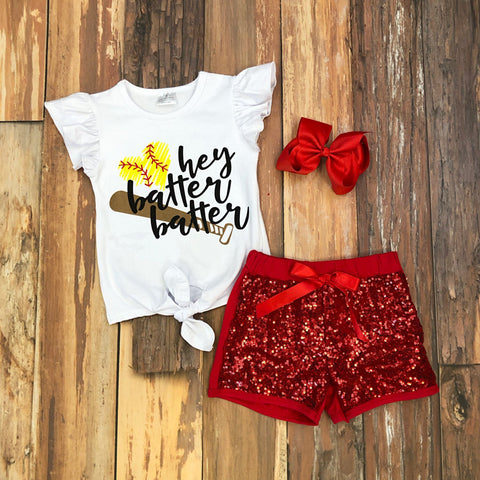 Hey Batter Batter Short Set - Orange Poppy Boutique