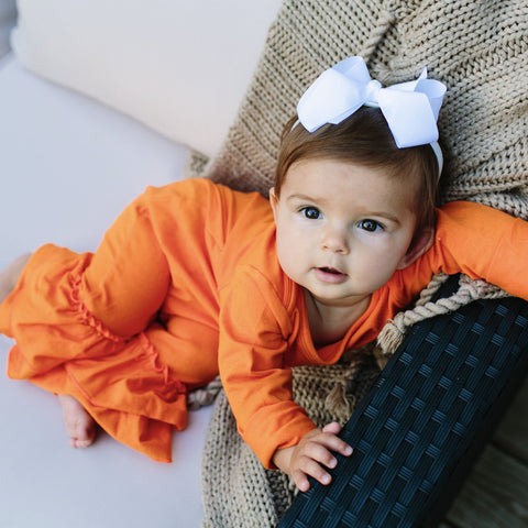 Orange Ruffle Romper - Orange Poppy Boutique