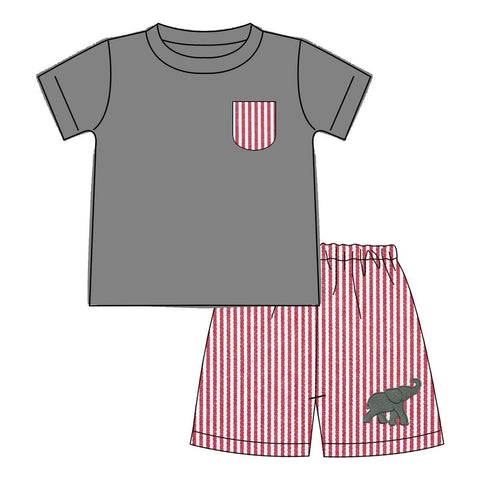 Boys Alabama Elephant Football Short Set | Orange Poppy Children's Boutique