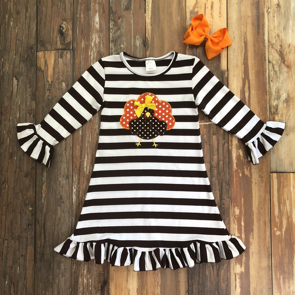 Gobble Gobble Turkey Dress - Orange Poppy Boutique