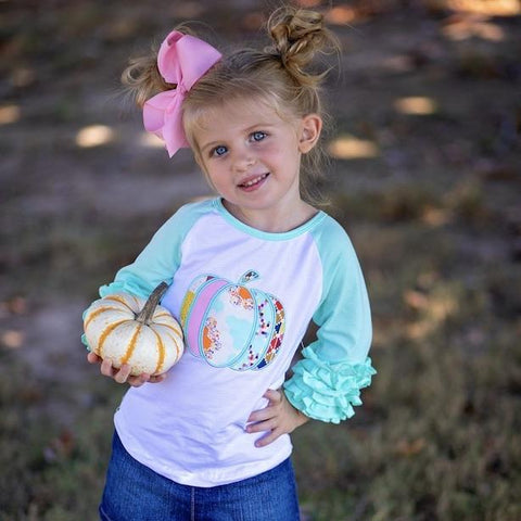 Bohemian Pumpkin Ruffle Raglan - Orange Poppy Boutique