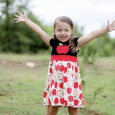 An Apple A Day Dress - Orange Poppy Boutique