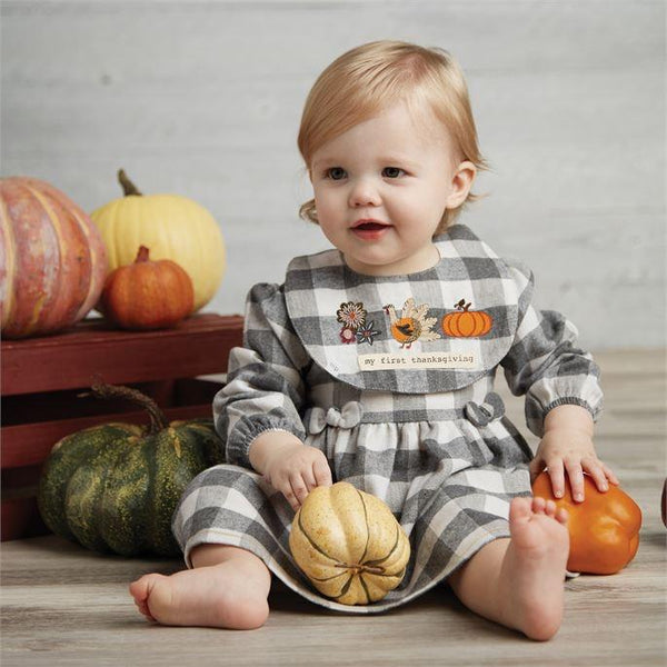 Holiday Gingham Dress and Reversible Bib