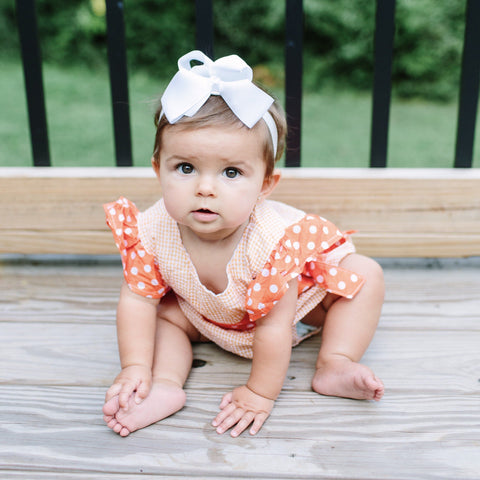 Orange Seersucker Romper - Orange Poppy Boutique