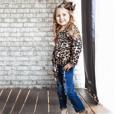 kids boutique girls leopard outfit with jeans