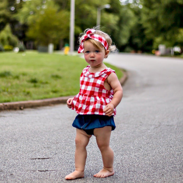 red and white picnic plaid baby girl bloomer set 4th of july