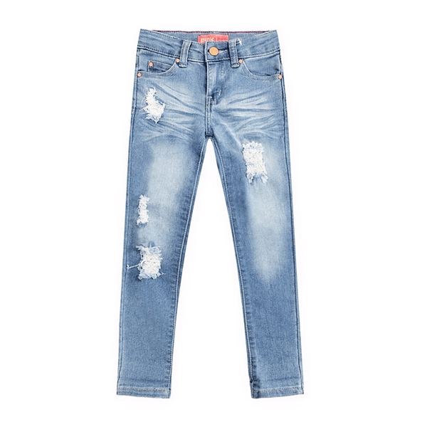 Distressed Stretch Jeans - Light Wash