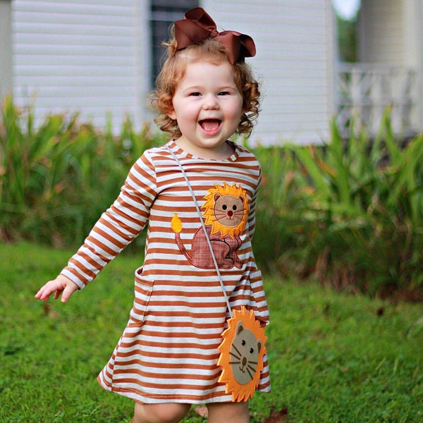 girls lion cub dress with purse