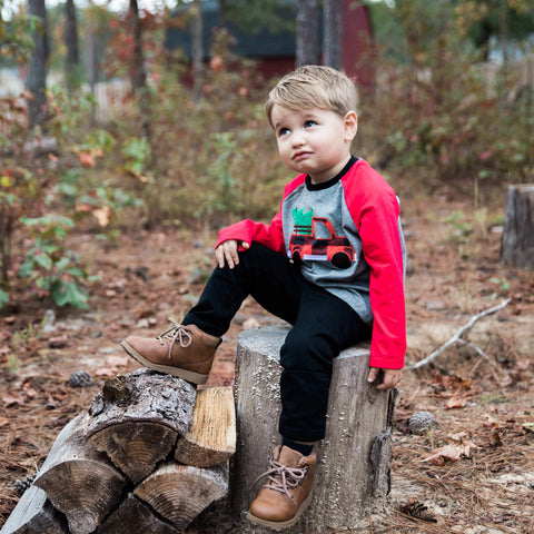 boys christmas shirt buffalo check truck | Orange Poppy Boutique